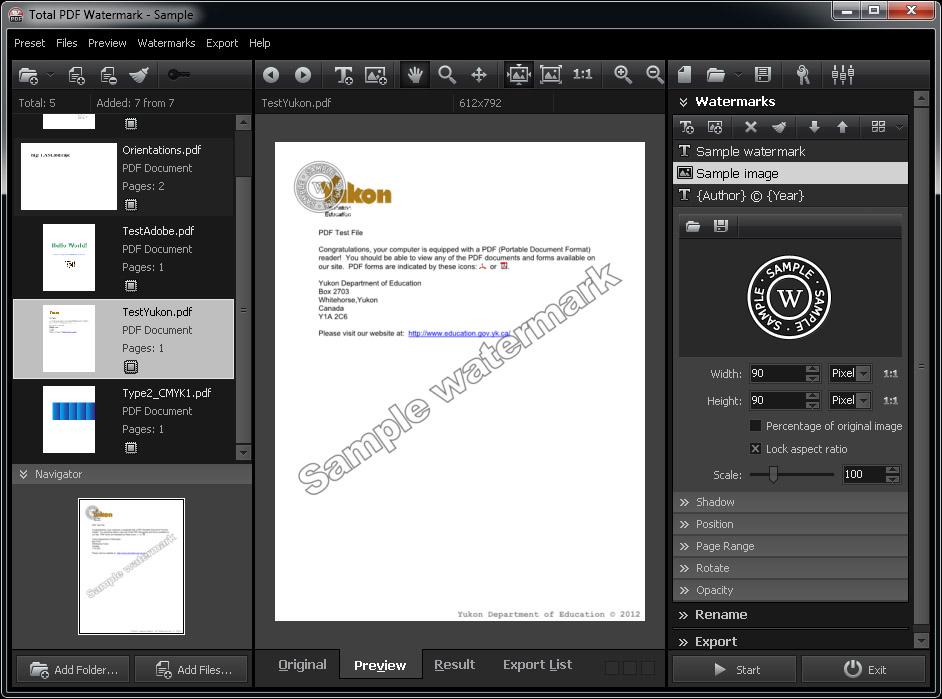 Total PDF Watermark Software - batch pdf watermarking application